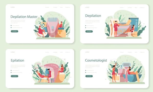 Banner da web de depilação e depilação ou conjunto de páginas de destino. depilação