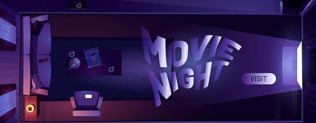 Banner da web de desenhos animados à noite de cinema