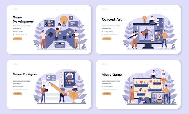Banner da web de desenvolvimento de jogos ou conjunto de páginas de destino