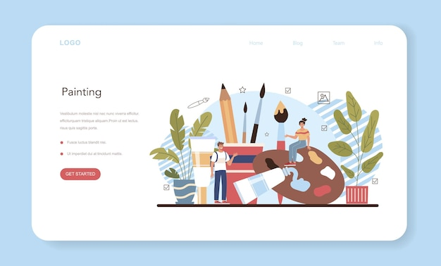 Banner da web de educação de escola de arte ou página inicial. aluno segurando