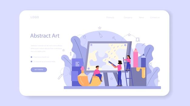 Banner da web de educação escolar de arte ou página inicial. aluno segurando ferramentas de arte.