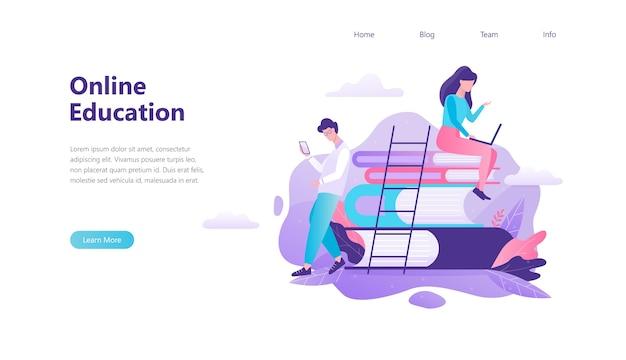 Banner da web de educação online. ideia de distância