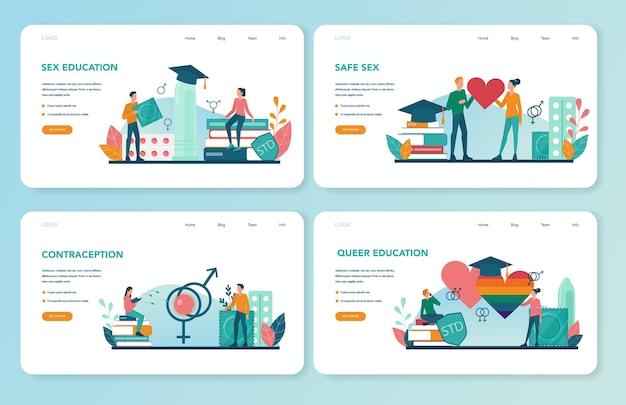 Banner da web de educação sexual ou conjunto de páginas de destino
