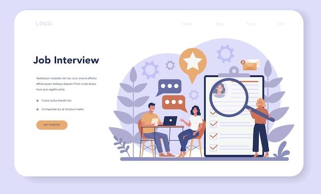 Banner da web de entrevista de emprego ou página de destino. ideia de emprego e contratação. pesquisa de gerente de recrutamento.