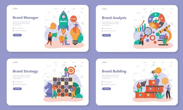 Banner da web de gerenciamento de marca ou conjunto de páginas de destino. gerente desenvolvendo design único de uma empresa. o reconhecimento da marca como estratégia de marketing e tecnologia de promoção. ilustração plana isolada