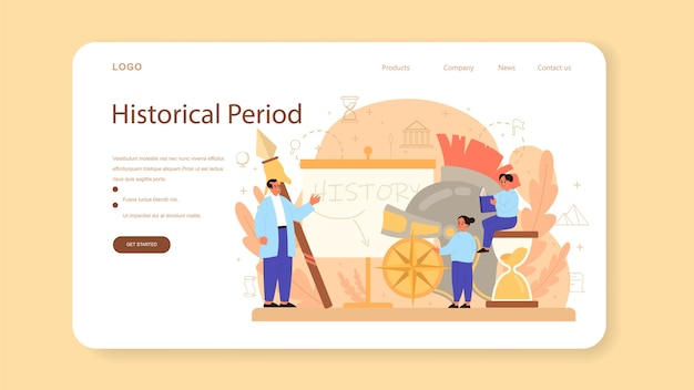 Banner da web de histórico ou página inicial. disciplina escolar de história.