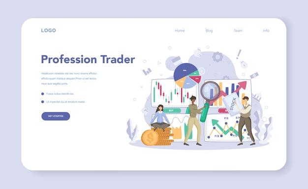 Banner da web de investimento financeiro ou página de destino
