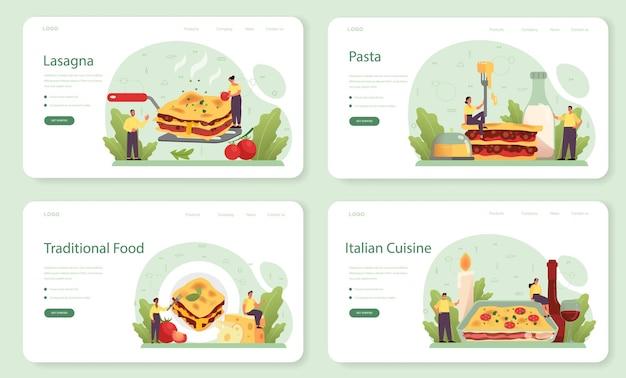 Banner da web de lasanha saborosa ou conjunto de páginas de destino
