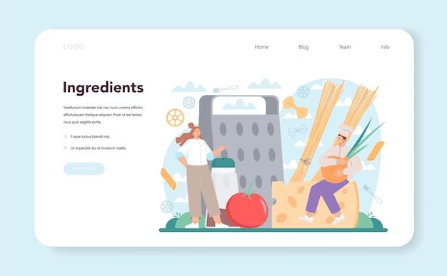 Banner da web de macarrão ou espaguete ou página de destino comida italiana no prato
