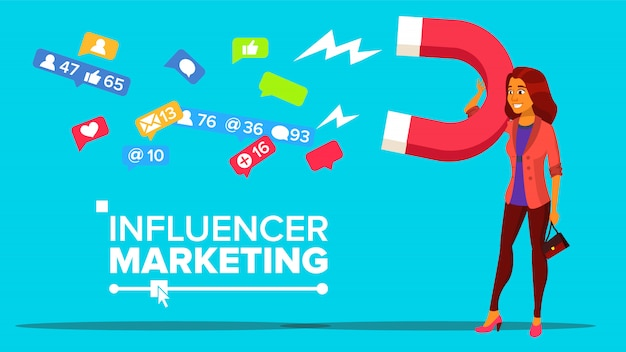 Banner da web de marketing digital de influência