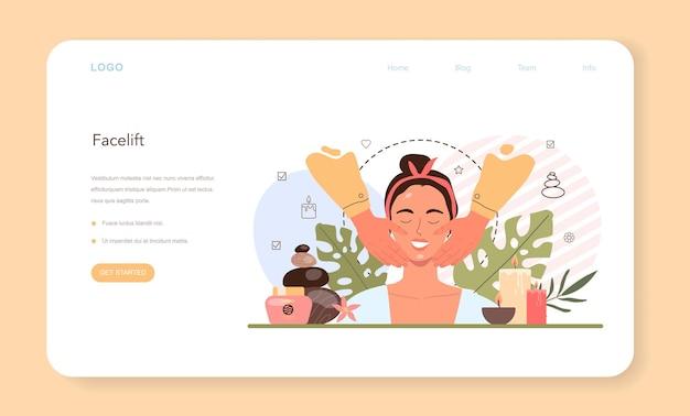 Banner da web de massagem facial ou página inicial. procedimento de spa
