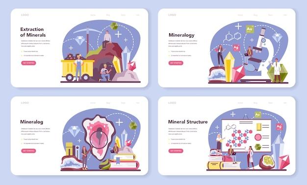 Banner da web de mineralogista ou conjunto de páginas de destino