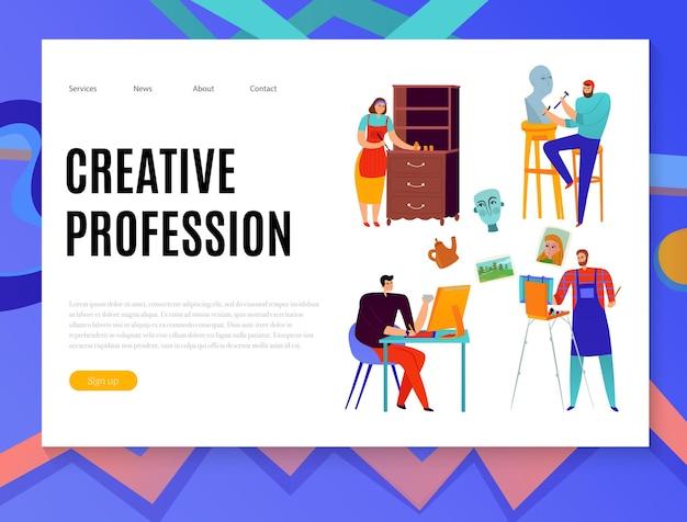 Banner da web de profissões criativas