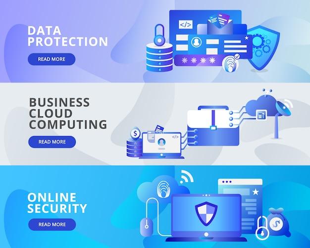 Banner da web de proteção de dados, computação em nuvem, segurança on-line