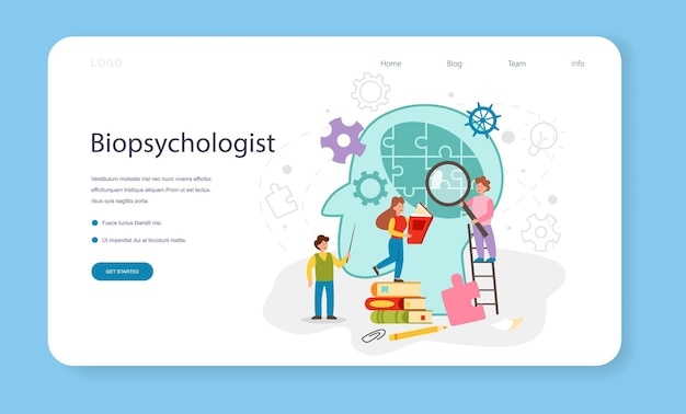 Banner da web de psicologia ou página inicial. estudo da saúde mental e emocional das pessoas. alunos aprendendo a ciência da mente e do comportamento. ilustração vetorial plana