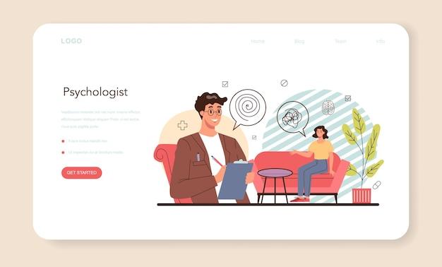 Banner da web de psicólogo ou página de destino de diagnóstico de saúde mental
