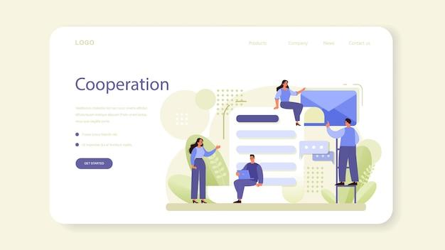 Banner da web de rede ou página inicial. colaboração de funcionários