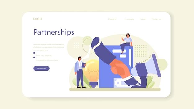 Banner da web de rede ou página inicial. colaboração dos funcionários, estabelecimento de parcerias de trabalho. personagens de escritório trabalhando em equipe. ilustração vetorial plana