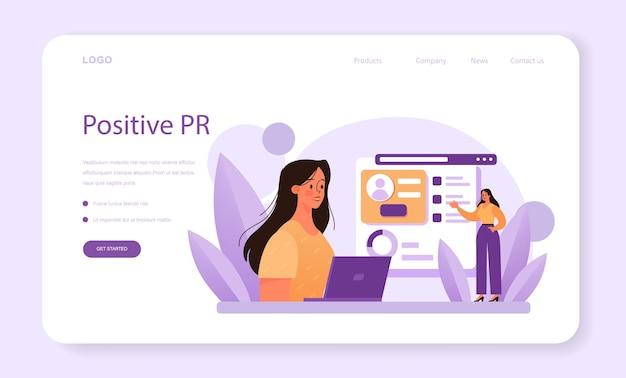 Banner da web de relacionamento com o cliente ou programa comercial de página de destino