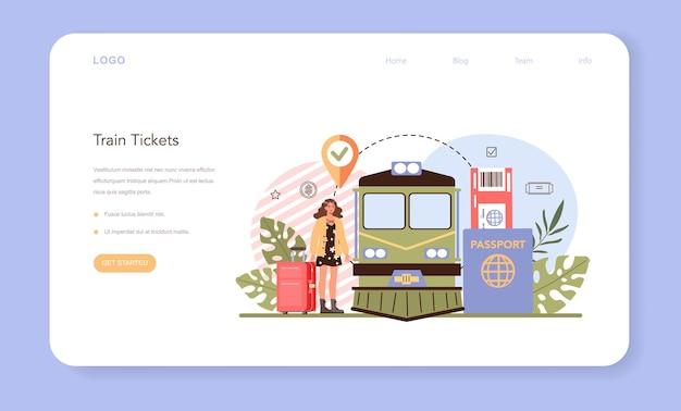Banner da web de reserva de viagem ou página de destino comprando uma passagem de trem