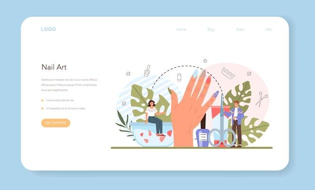 Banner da web de serviço de manicure ou página de destino trabalhador de salão de beleza