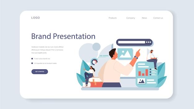 Banner da web de suporte de marca ou design exclusivo da página de destino de uma empresa