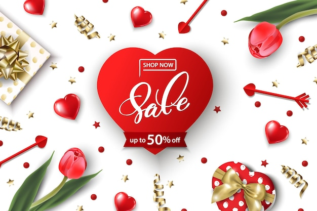 Banner da web de venda do dia dos namorados vista superior na composição com caixa de presente, tulipas vermelhas e corações vermelhos brilhantes