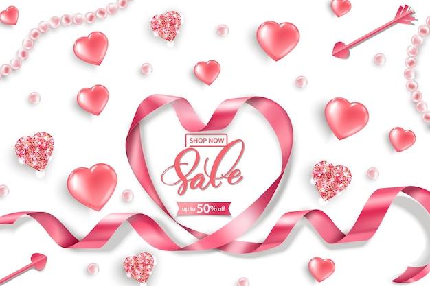 Banner da web de venda do dia dos namorados vista superior na composição com corações rosa brilhantes pérolas rosa