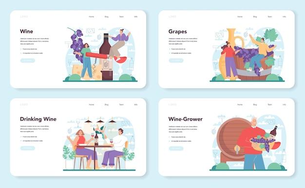 Banner da web de vinhos ou página de destino configurada com vinho de uva em uma garrafa