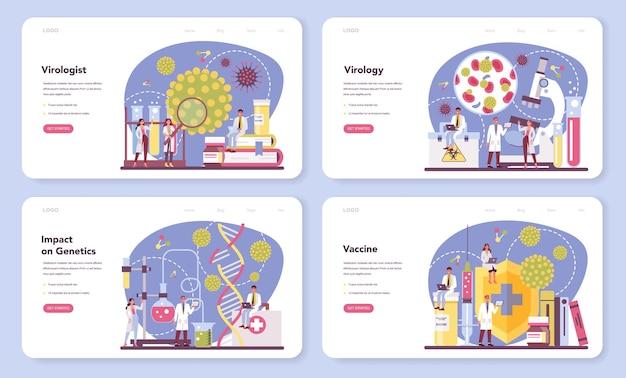 Banner da web de virologista ou conjunto de páginas de destino