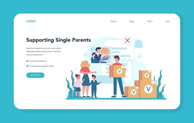 Banner da web de voluntário social ou página de destino. caridade