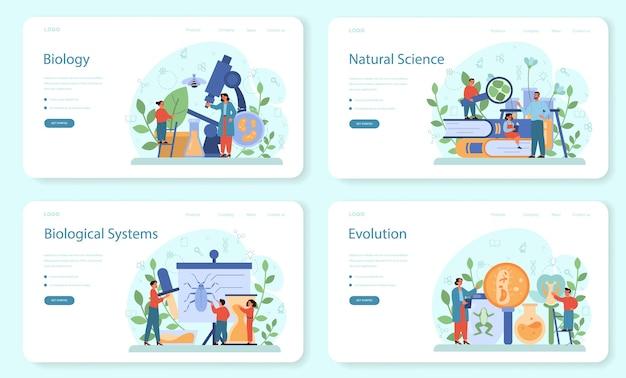 Banner da web do assunto da escola de biologia ou conjunto de páginas de destino. cientista explorando humanos e a natureza. aula de anatomia e botânica. ideia de educação e experiência.