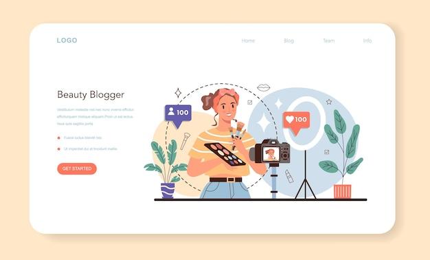 Banner da web do blogueiro de beleza em vídeo ou celebridade da internet na página de destino