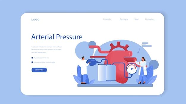 Banner da web do cardiologista ou página inicial. idéia de cuidados cardíacos e diagnóstico médico. os médicos tratam as doenças cardíacas. cirurgião de órgão interno. ilustração isolada em estilo cartoon