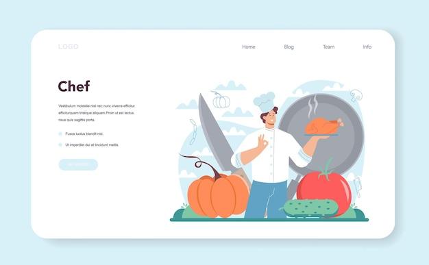 Banner da web do chef ou especialista em culinária na página de destino em avental