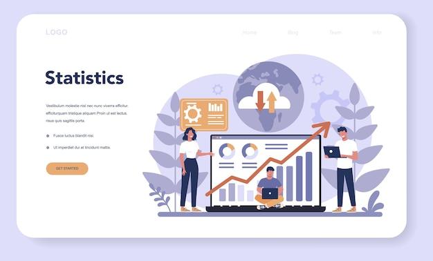 Banner da web do conceito de análise de site ou página inicial. melhoria da página da web para promoção de negócios como parte da estratégia de marketing. análise de sites para obter dados para seo.