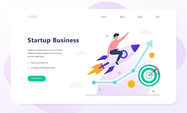 Banner da web do conceito de inicialização. lucro empresarial e crescimento financeiro. estratégia de sucesso. ilustração em estilo cartoon