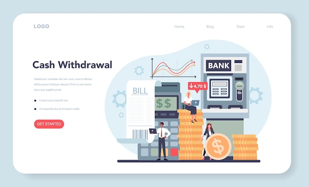 Banner da web do conceito de retirada de dinheiro ou página inicial. ideia de receita financeira, economia de dinheiro e riqueza.