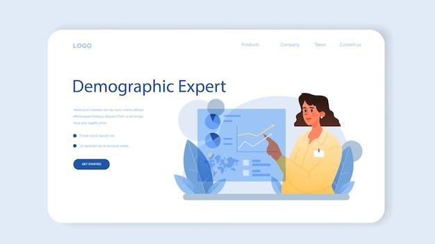 Banner da web do demógrafo ou página inicial. cientista que estuda o crescimento populacional, analisa dados e estatísticas demográficas em uma área durante um período de tempo. ilustração vetorial isolada