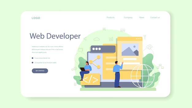 Banner da web do desenvolvedor front-end ou página de destino