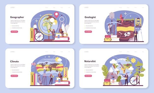 Banner da web do geographer ou conjunto de páginas de destino