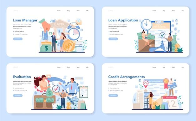 Banner da web do gerente de empréstimos ou conjunto de páginas de destino