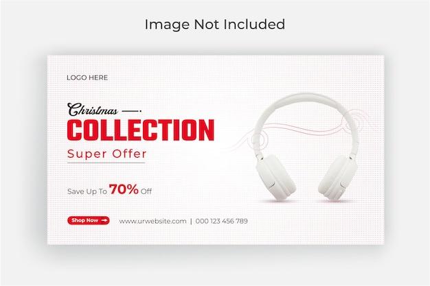 Banner da web do instagram de super venda de mídia social de natal ou modelo de capa do facebook premium