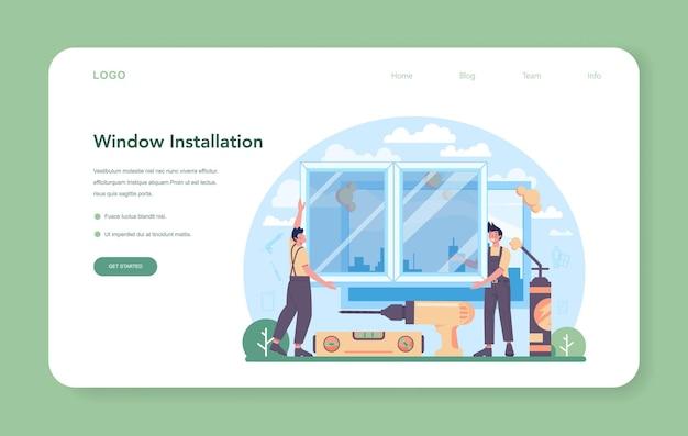 Banner da web do instalador ou trabalhador da página de destino em janela de instalação uniforme