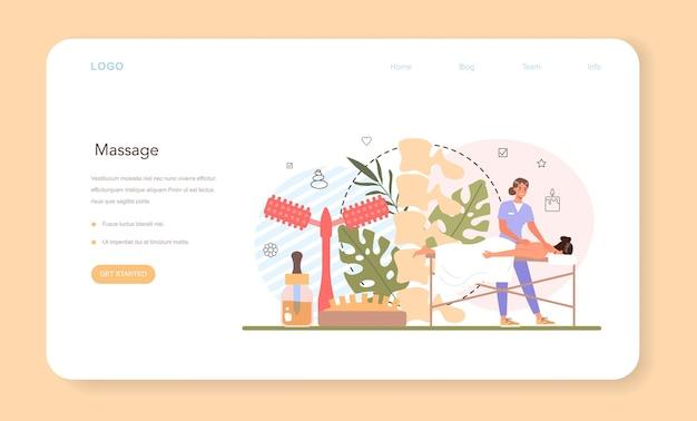 Banner da web do massagista ou página de destino. procedimento de spa em salão de beleza