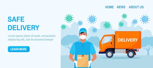 Banner da web do serviço de entrega segura. encomenda online de alimentos.