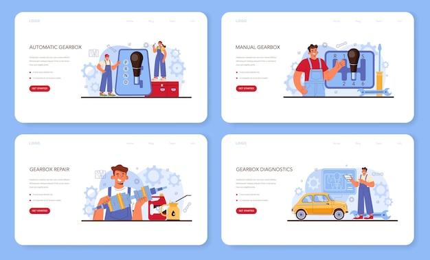 Banner da web do serviço de reparação de automóveis ou conjunto de páginas de destino. automóvel