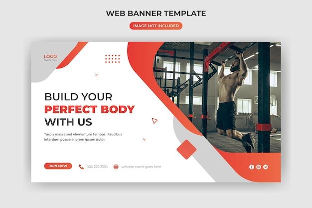 Banner da web e capa do site fitness ginásio mídia social modelo de postagem