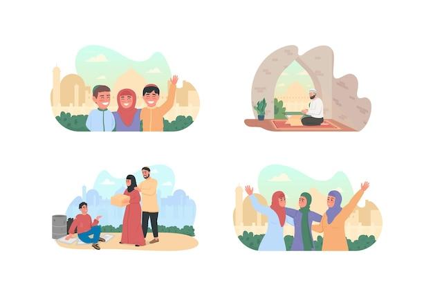 Banner da web em 2d da cultura árabe, conjunto de pôsteres