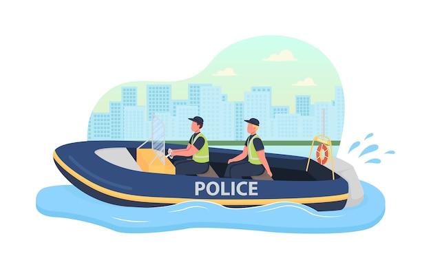 Banner da web em 2d de patrulha de barco de polícia, pôster. aplicação da lei. personagens planos de oficiais da marinha no fundo dos desenhos animados. patch para impressão de veículo de serviço especial, elemento colorido da web
